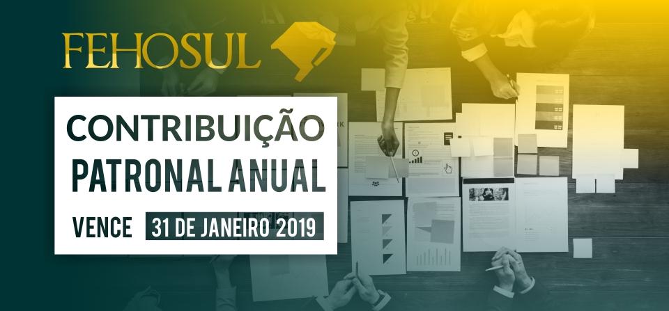 Contribuição Patronal Anual 2019 vence no dia 31 de janeiro